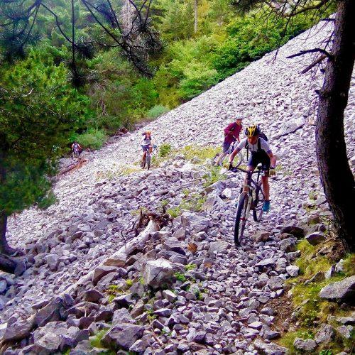 Joves baixant en bicicleta per un camí de pedres.