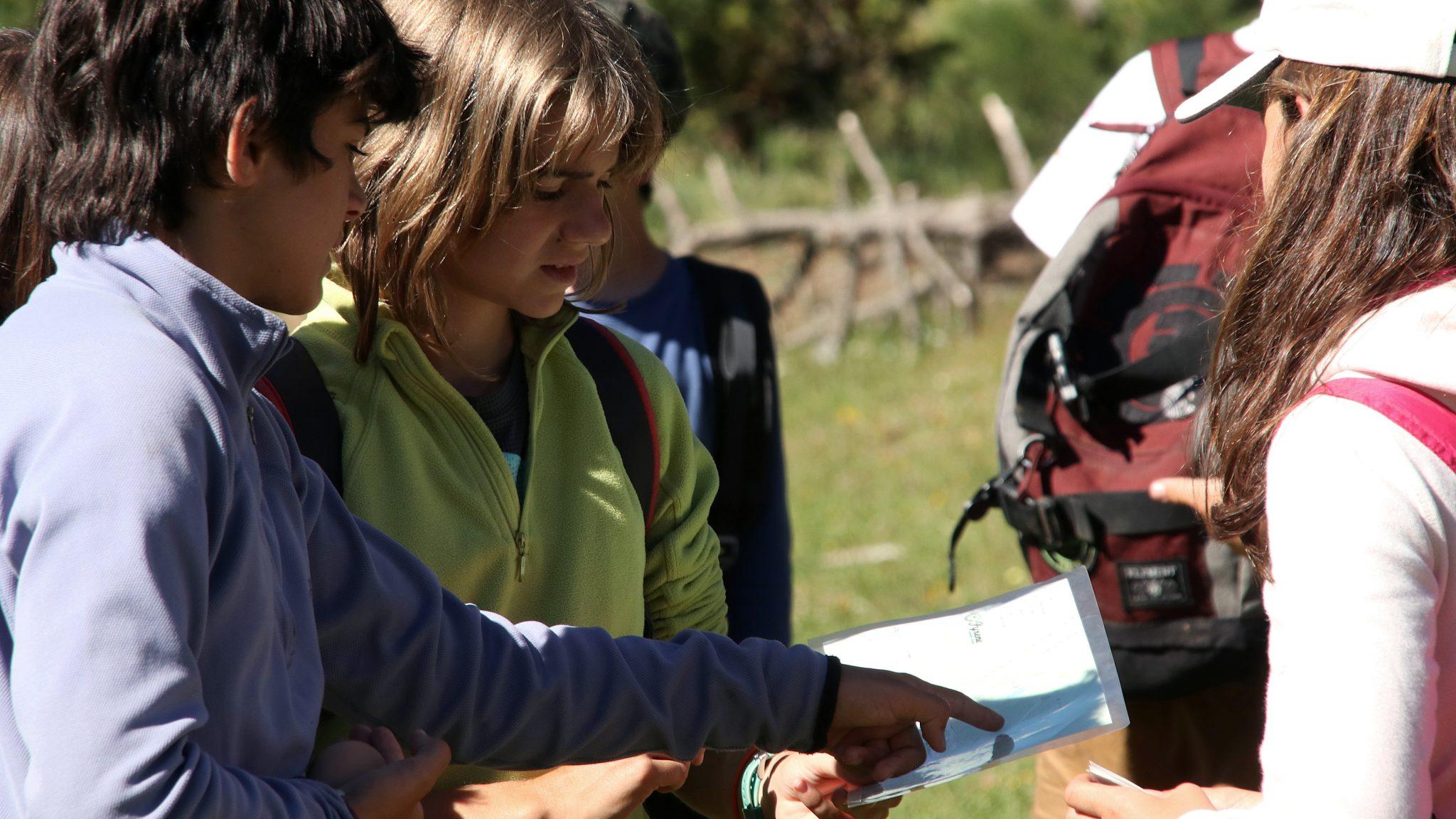 Nens i nenes mirant un mapa d'orientació en plena natura